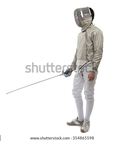 Teen fencer with space for your text.        - stock photo