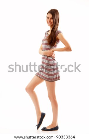 teen girl beautiful cheerful isolated on white background