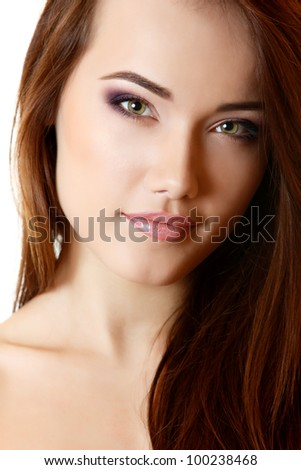 Teen girl beautiful portrait with long brown hair and clean skin. isolated on white background - stock photo