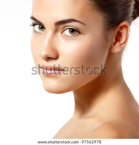 teen girl beauty portrait looking at camera isolated on white background - stock photo