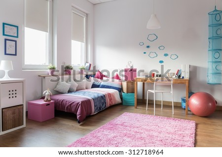 Teen girl bedroom and space for study - stock photo