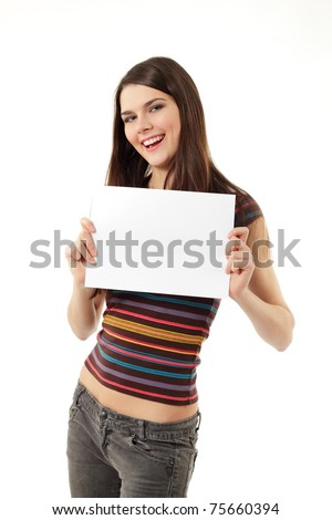teen girl cheerful holding blank white paper closeup isolated on white background - stock photo