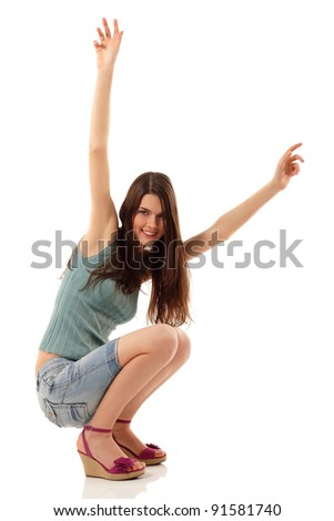 teen girl cheerful isolated on white background