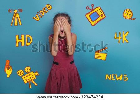 teen girl covering her eyes surprise emotion on background infographics TV channels skeytchi icons in the background - stock photo