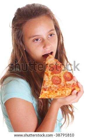 teen girl eating pizza isolated on white