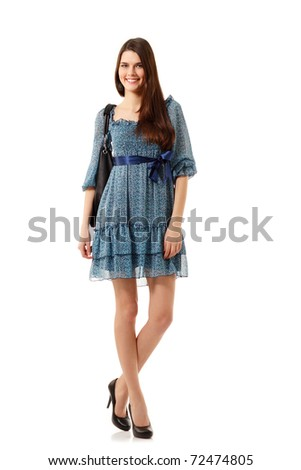 teen girl friendly beautiful full length isolated on white background