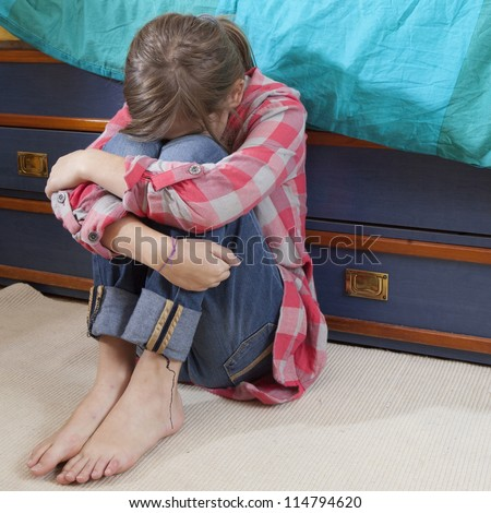 woman crying in bed little naughty crying girl sad father stock photo 56320111 9015