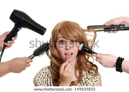 Teen girl getting a makeover - stock photo