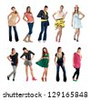 teen girl in different fashion clothes combinations isolated - stock photo