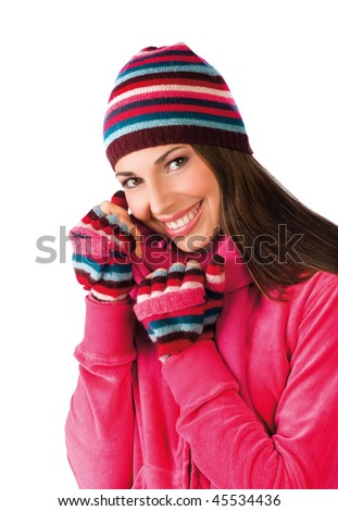 teen girl in winter clothes