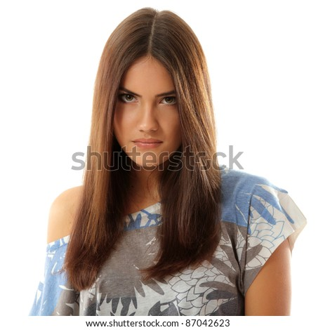 teen girl make faces isolated on white background - stock photo