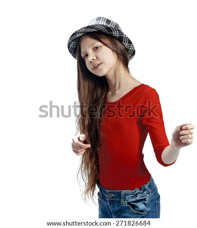 Teen girl portrait isolated on white background - stock photo