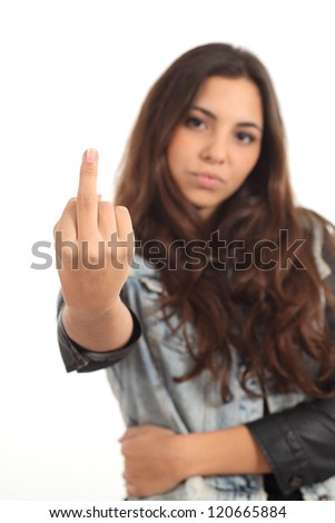 Teen girl showing middle finger on a white background - stock photo