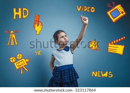 teen girl standing in the background shows a gesture infographics TV channels sketch icons in the background - stock photo