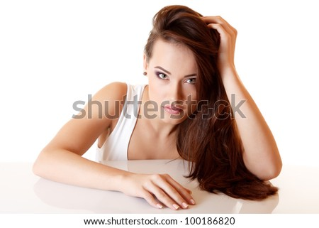 teen girl with beautiful long brown hair isolated on white background
