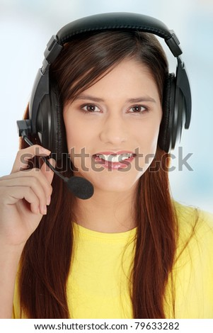 Teen girl with big headset (e-learning or gaming concept)