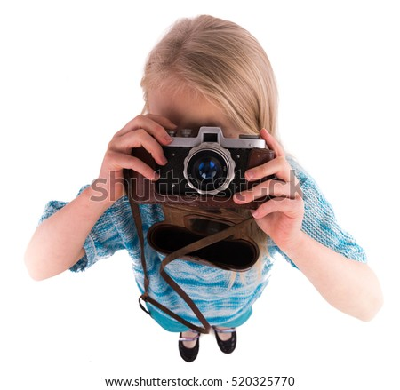 teen girl with retro camera on a white background