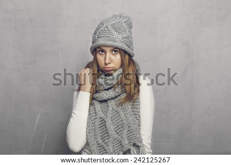 Teen girl with sad cute face