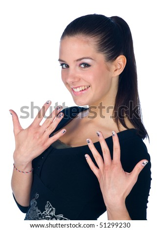 teen girl with tattoo on her fingernails - stock photo