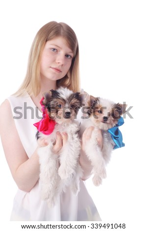 teen girl with the beaver cute little puppies