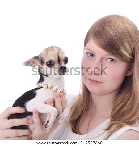 teen girl with the toy terrier