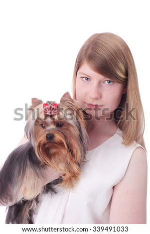 teen girl with the Yorkshire terrier