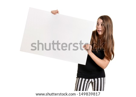 Teen girl with white large white card