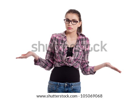 teen girl wondering, wearing wayfarers, isolated on white background