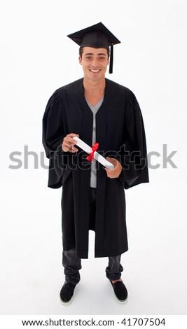 Teen Guy Celebrating Graduation agaisnt white background - stock photo