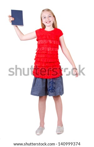 teen holding a book above head, isolated on a white background - stock photo
