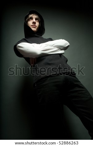 teen male portrait, expressionless - stock photo