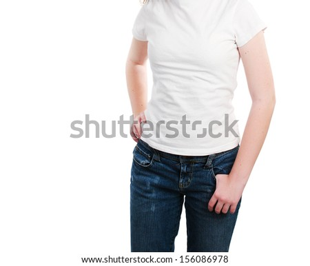 Teen model wearing a blank white t-shirt, ready for text or logo.  Isolated on white.   - stock photo
