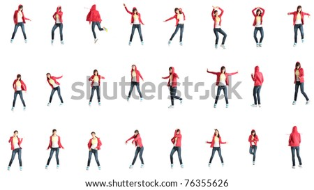 Teen morn dancer, isolated on white background - stock photo