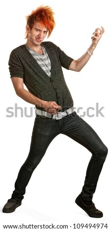 Teen punk with orange mohawk playing air guitar - stock photo