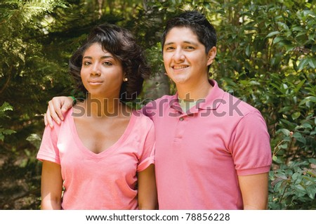Teen romance - Hispanic boy and African American girl