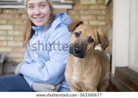 Teen smiling girl is sitting with a young funny dog. Dog is staring at the camera with curiosity. Outdoor, cold season.