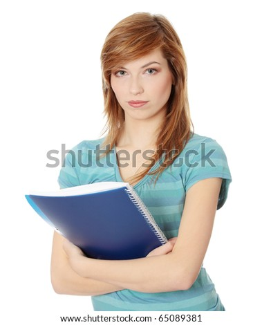 Teen student girl isolated on white background - stock photo
