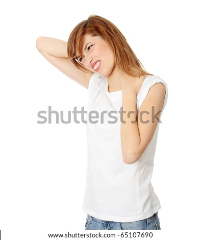 Teen student woman with neck pain, isolated