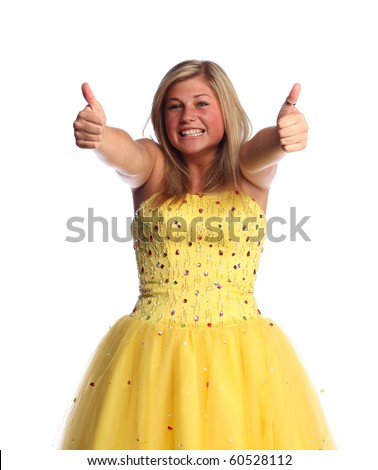 Teen wearing yellow prom dress