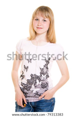 Teen with a music player on a white background. - stock photo