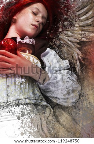 Teen with apple, fantasy and romantic concept - stock photo