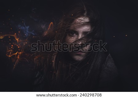 Teen with fire in her hair, teenage problems - stock photo