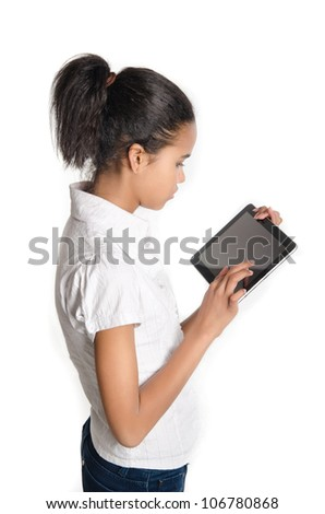 Teen with tablet pc, Isolated on white background - stock photo