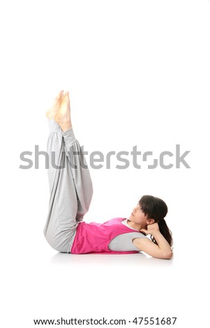 Teen woman training yoga, isolated on white