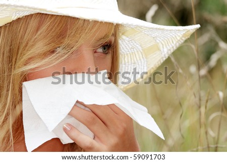 Teen woman with allergy, isolated on white background