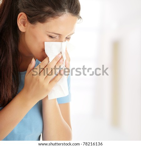 Teen woman with allergy or cold - stock photo
