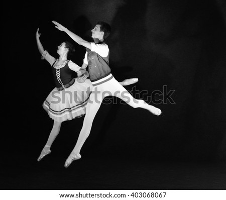 Teenage Ballet Duo Jumping