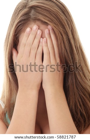 Teenage beautiful woman with depression isolated on white - stock photo