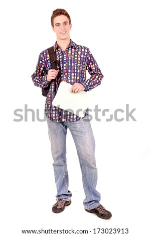 teenage boy at school isolated in white
