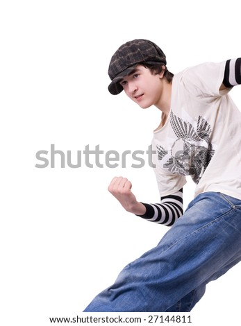 Teenage boy dancing Locking or Hip-hop dance over isolated background - stock photo